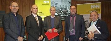 v.l.n.r.: Christian Rapp (Wissenschaftlicher Leiter), Philipp Lesiak, Roland Adrowitzer, Reinhard Linke, Herbert Schleich © NÖ Museum Betriebs GmbH