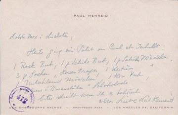 Notiz Paul Henreid