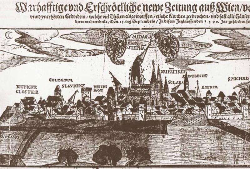 © ZAMG, Ausschnitt der Zeitgenössischen Flugschrift über die Auswirkung des Erdbebens vom 15. September 1590 in Wien. Hans Schultes, Augsburg 1590.