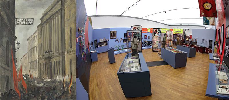 © NÖ Museum Betriebs GmbH, Foto: Ausrufung des Staates Deutschösterreich vor dem NÖ Landhaus in Wien 1918 (© Landessammlungen NÖ), Ausstellungsansicht Niki Gail